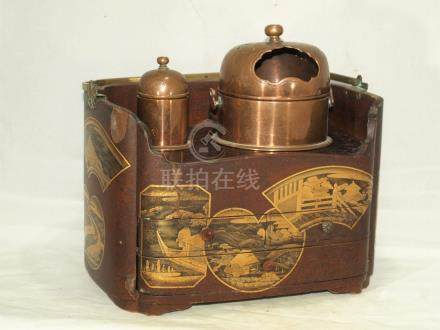 Antique Japanese gold lacquer tea caddy
