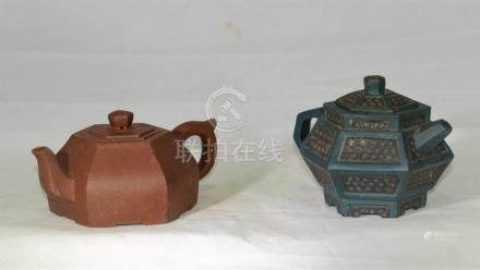 2 Vintage Chinese Yixing clay hex shaped teapots
