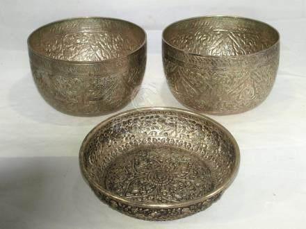 3 vintage Chinese / Tibetan silver Buddhist bowls