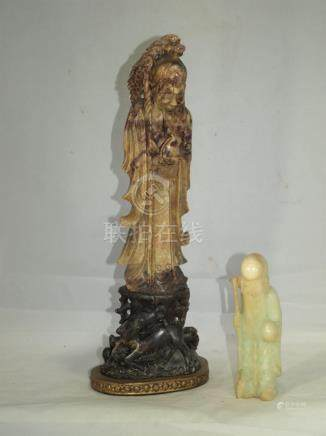 2 Antique Chinese hardstone Shuolao carved figures