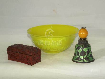 Vintage Chinese Peking glass bowl, cinnabar box, & bell