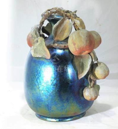 Antique art nouveau Teplitz iridescent pottery vase