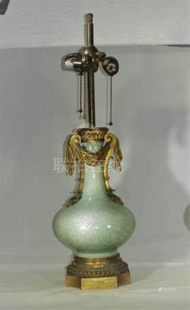 Antique Samson crackle porcelain & bronze vase lamp