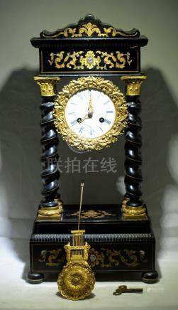 Antique English wood & gilt bronze mantel clock