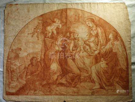 17th c. Antique Old Masters red chalk drawing SIGNED