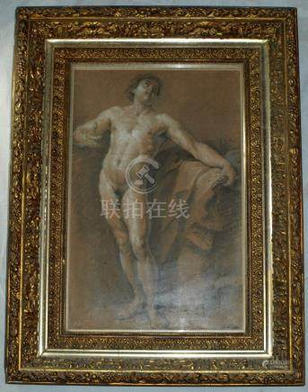 Antique Old Masters nude drawing signed LE SUEUR