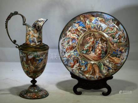 Antique Vienna enamel ewer & plate Greek revival design