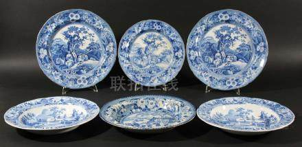 THREE BLUE TRANSFER PRINTED PLATES, early 19th century, in the Piping Shepherd pattern, diameter
