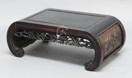CHINESE EXPORT HARDWOOD LOW TABLE, with scrolling supports and pierced, fruiting vine apron,