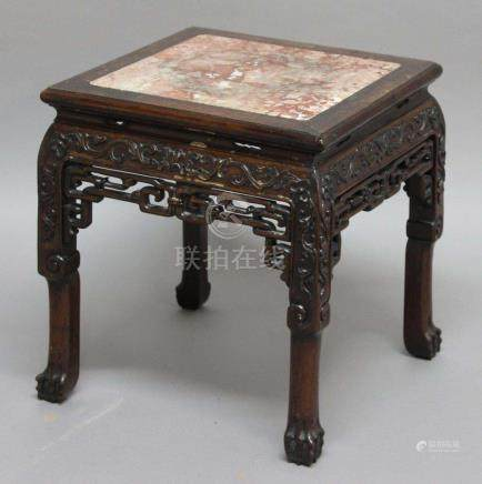 CHINESE ROSEWOOD AND MARBLE INSET STAND OR TABLE, the square top with rose marble panel above