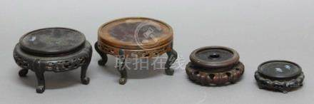 COLLECTION OF CHINESE HARDWOOD STANDS, for vases and plates, various dates and sizes (parcel)