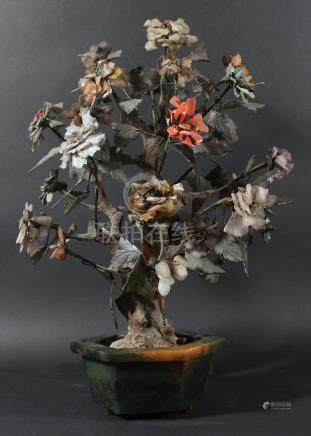 CHINESE HARDSTONE AND JADE TREE, with numerous branches of leaves and flowers from a main trunk,