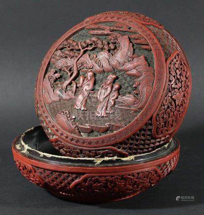 CHINESE CINNABAR LACQUER CIRCULAR BOX AND COVER, 19th century, the cover with three figures