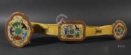 CHINESE CLOISONNE RUYI SCEPTRE, 20th century, with bats and auspicious Buddhustic symbols on a