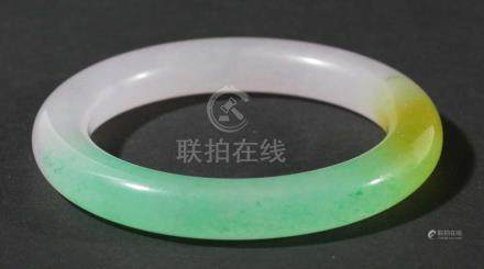 CHINESE 'JADE' BANGLE, green, yellow and mauve, diameter 8.5cm