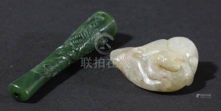 CHINESE GREY JADE CARVING, perhaps late Ming, of a leopard or chilong on a rock, length 4cm;