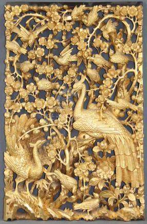 Holzpaneel. Geschnitzt. Goldfarben. Vogeldekor. China alt.65 cm x 40 cm.Wood panel. Carved. Gold