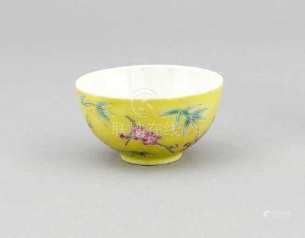 Kleine Famille-Rose-Schale, China, 1. H. 20. Jh., umlaufende Emaille-Malerei mitPflaumenblüte und