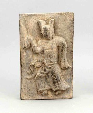 Figürliches Relief, China, gebrannter Ton, hochreliefierte Figur eines Beamten mitKopfbedeckung
