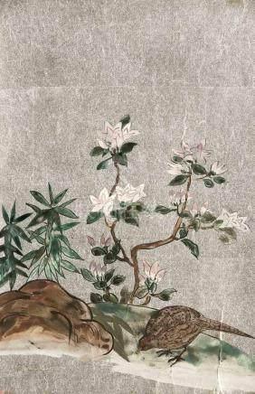 Pinselzeichnung auf Silbergrund, Japan, Mitte 20. Jh., anonymer Künstler. Vogel an einemUfer mit