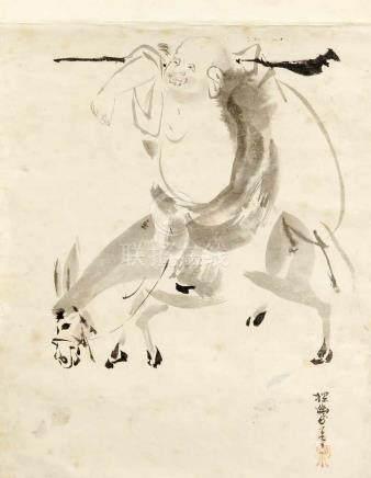 Tuschezeichnung, China, 1. H. 20. Jh., Budai/Hotei auf einem Esel reitend, u. r. signiert,kurz
