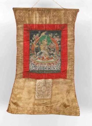 Thangka, Tibet, 1. H. 20. Jh., Darstellung der grünen Tara, polychrome Malerei aufLeinwand mit
