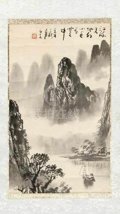 Hängerolle mit Flusslandschaft, China, 20. Jahrhundert, datiert 1942 oder 2002, Shi Xianoder