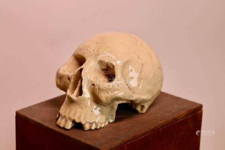 Japanese Satsuma Skull with Box - Rare !