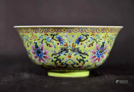 Chinese Famille Rose Porcelain Bowl with Lotus