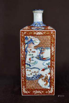 Japanese Imari Porcelain Square Bottle Vase