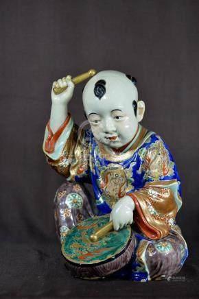 Large Japanese Imari Porcelain Boy Figurine
