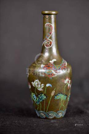 Chinese Cloisonne Vase with Dragon
