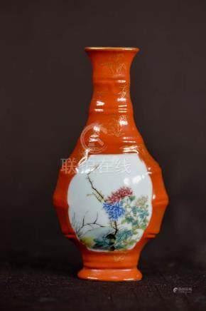 Chinese Famille Rose Porcelain Vase - Floral
