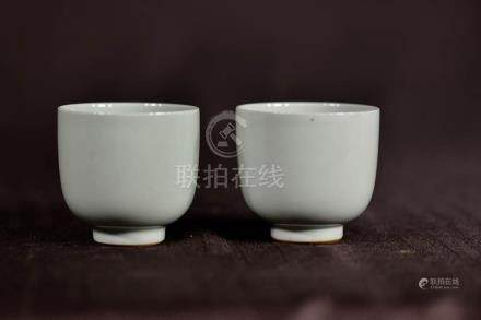 Pair Chinese Celadon Monochrome Porcelain Cups