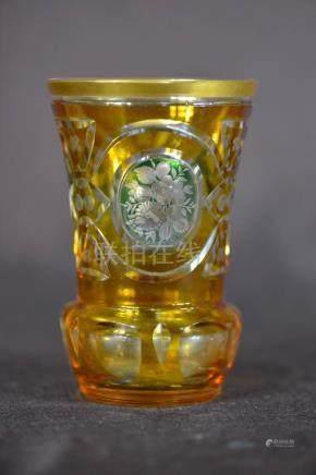 Moser Cutglass Amber Glass Vase
