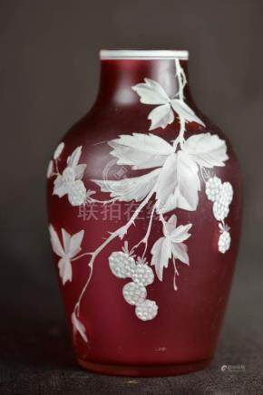Cameo Cranberry Art Glass Vase