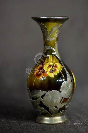 Rookwood Art Pottery Vase with Silver Overlay - Signed