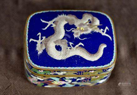 Japanese Cloisonne Box with Dragon Motif