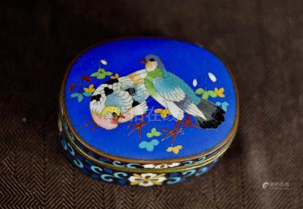 Japanese Oval Cloisonne Box - Pigeons