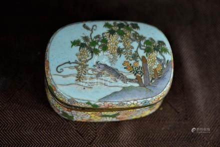 Japanese Cloisonne Box - Koi and Wisteria