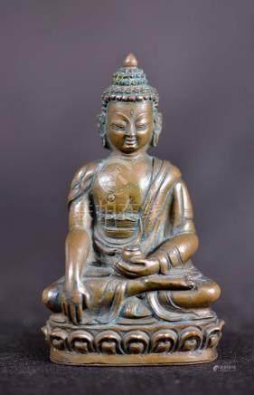 Tibetan Nelpanese Bronze Seated Buddha