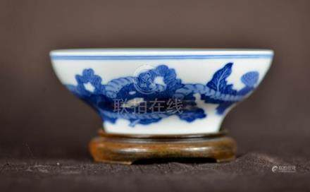 Chinese Blue White Porcelain Bowl with Base