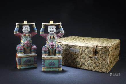 A Pair of Chinese Fencai Statues