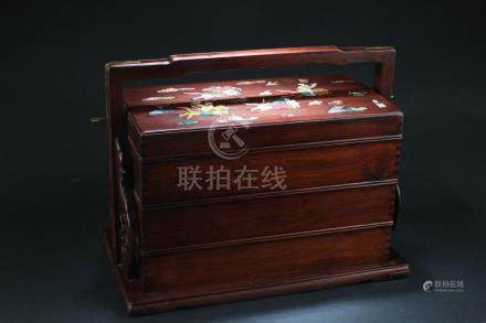 Chinese Hardwood (possibly HuangHuaLi) Multi-Tier Box