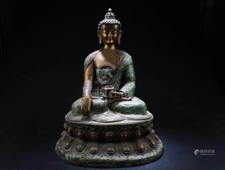 Chinese Gilt Bronze  with Turquoise Buddha Statue