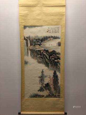 Chinese Hanging Scroll Of Landscape With DaQian Zhang Signature