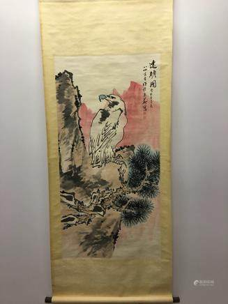 Chinese Hanging Scroll Of Eagle