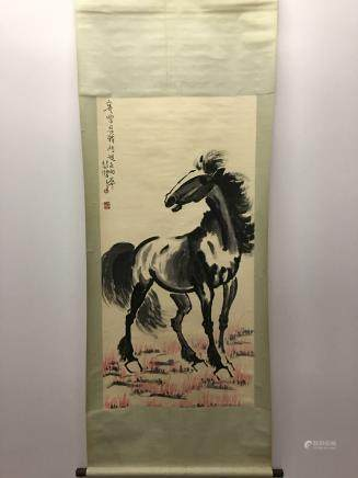 Chinese Hanging Scroll Of Black Horse with BeiHong Xu Singature