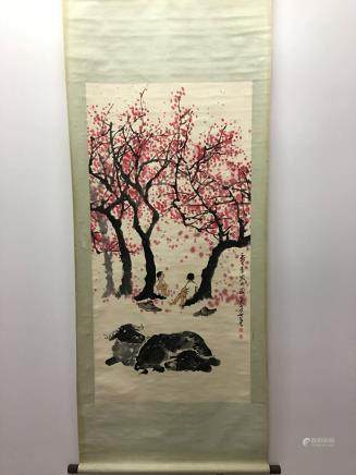 Chinese Hanging Scroll of Flower With KeRan Signature