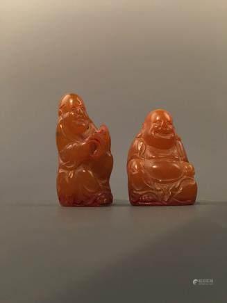 Chinese Two 'Buddha' Tianhuang Stone